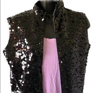Tops - Vintage Sequin Black Sleeveless Top Size S